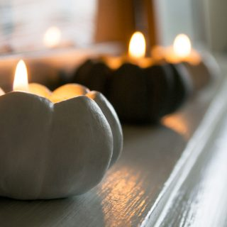 Clay Pumpkin Candle Holders