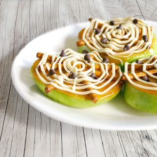 Spider Web Caramel Apple Slices